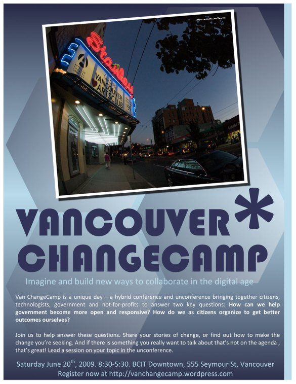 Flyer for ChangeCamp with an image of the Stanley